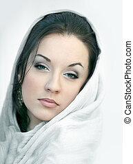 Girl in white scarf