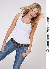 Girl in white shirt