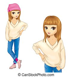 Girl In White Sweater And Pink Cap