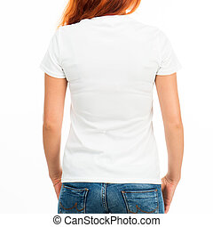 girl in white t-shirt - Girl in white t-shirt over white...