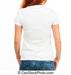 girl in white t-shirt - Girl in white t-shirt over white...
