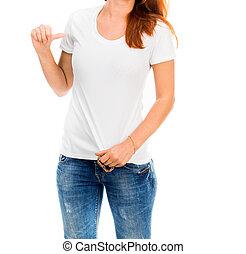 girl in white t-shirt
