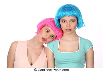 Girl in wig reclining on her friend. Close up. White background