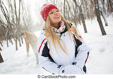 Girl in winter park