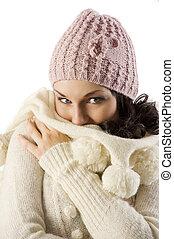 girl in winter sweater