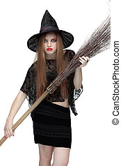 Girl in witch costume with a broom. 2 - .Girl in black witch...