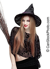 Girl in witch costume with a broom - Girl in black witch...