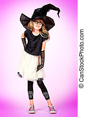 girl in witch hat - Pretty ten years girl in a witch costume...