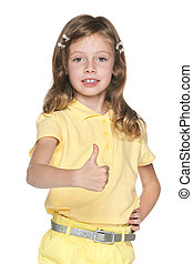 Girl in yellow blouse with her thumb up