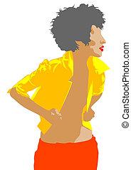 Girl in yellow coat