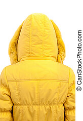 girl in yellow down jacket. view from the back