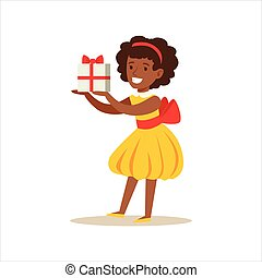 Girl In Yellow Dress Holding A Present, Kids Birthday Party Scene With Cartoon Smiling Character