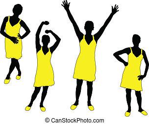girl in yellow dress - vector