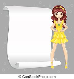 Girl In Yellow Dress With Banner