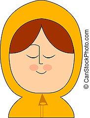 Girl in yellow raincoat, illustration, vector on white background.