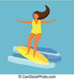 Girl in yellow swimsuit surfing on board