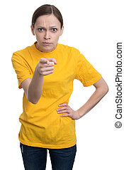 girl in yellow t-shirt pointing at you