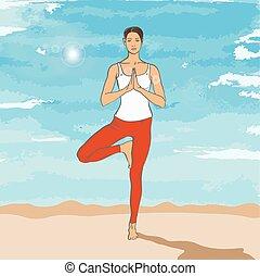 Girl in yoga asana on the beach