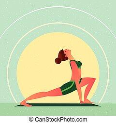 Girl in Yoga Open Heart Chakra Warrior Pose