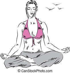 girl in yoga relaxing position illu