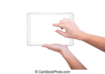 Girl increases the picture on the screen of the tablet
