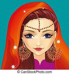 girl, indien, avatar, maquillage