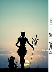 girl, indien, coucher soleil