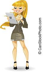 girl, informatique, blonds, tablette