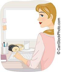 girl, informatique, bureau