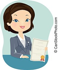 Girl Insurance Agent Certificate - Illustration of a Female...