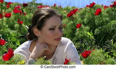 Girl Is Among The Poppies