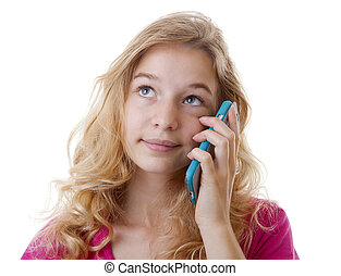 Girl is calling on mobile phone over white background