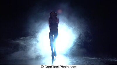 Girl is dancing a sexy dance . Black smoke background. Silhouette. Slow motion