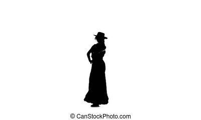 Girl is dancing a Spanish incendiary dance. White background. Silhouette