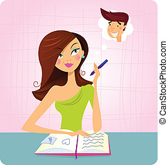 This student girl is is doing homework or reading book and dreaming about this sexy boy. Vector Illustration.