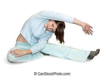 girl is doing aerobics - girl in light activewear is doing...