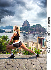 Girl is engaged in gymnastics in Rio against the backdrop of...