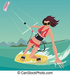 Girl is engaged in kitesurfing