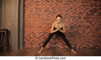 Girl is engaged in yoga
