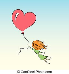 girl is flying on a balloon in the shape of heart