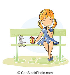 Girl sitting on a bench giving a gift to her mouse