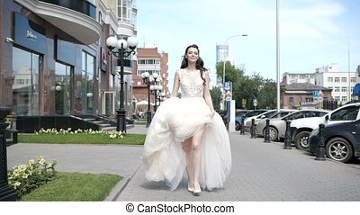 Girl is hiking up her dress