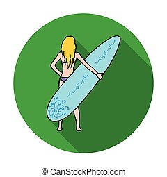 Girl is holding a surfboard icon in flat style isolated on white background. Surfing symbol stock vector illustration.