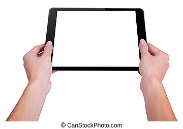 Girl is holding a the tablet obliquely