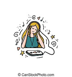 Girl is listening music or podcast in headset, looking on tablet. Doodle style hand drawn concept.