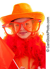 Girl is posing in orange outfit for soccer game or Dutch queensday over white background