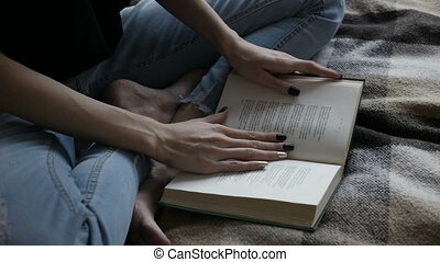Girl is reading russian poetry - Attractive brown-haired...