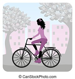 Girl is riding bike