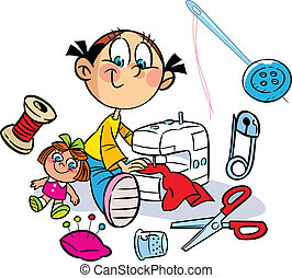 girl is sewing clothes - The illustration shows a little...