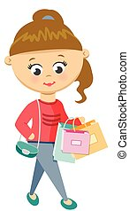 Girl Is Shoping. Walks in Sweater and Jeans.